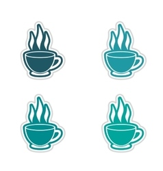 Set of stickers Indian tea cup on white background vector