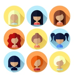 Set of Women Faces Icons in Flat Design vector