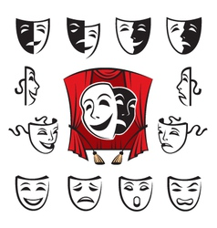 Set theatrical masks vector