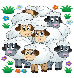 sheep theme image 3 vector image