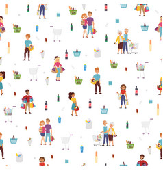 shopping people seamless pattern vector image