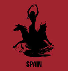 Spanish dancer bull and horse vector
