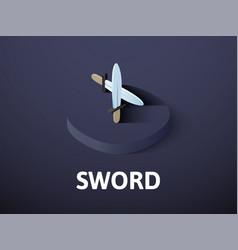 sword isometric icon isolated on color background vector image