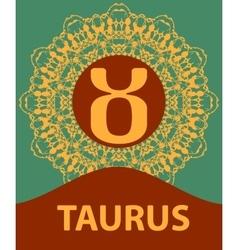 Taurus Zodiac icon with mandala print vector image