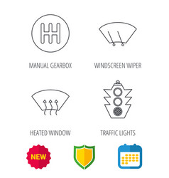 Traffic lights manual gearbox and wiper icons vector