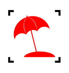 umbrella and sun lounger sign red icon vector image