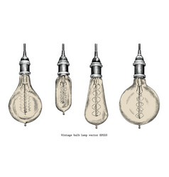 Vintage bulb lamp hand drawing engraving style vector