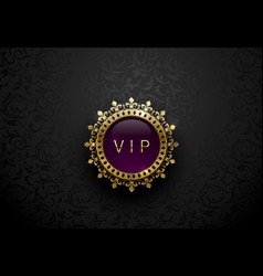 Vip purple label with round golden ring frame vector