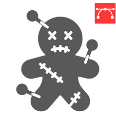 Voodoo doll glyph icon halloween and scary vector