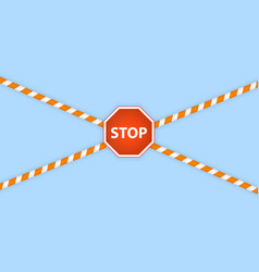 warning lines and stop sign on a white background vector image