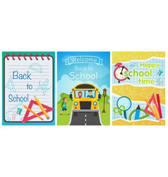 welcome back to school concept template school vector image