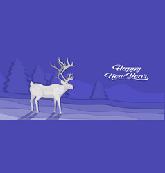 white deer cartoon animal reindeer flat fir tree vector image