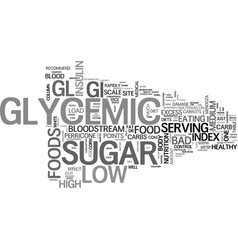 why low glycemic foods text word cloud concept vector image