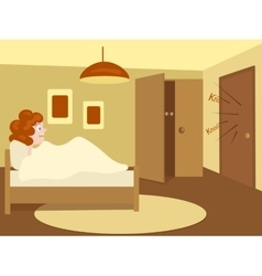 Woman hides her lover in the wardrobe vector