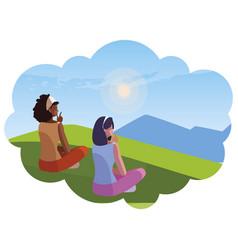 Women couple contemplating horizon in the vector