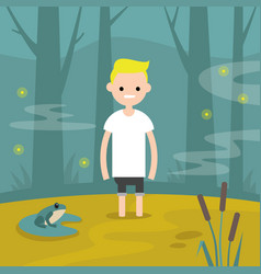 young character stuck in the swamp flat editable vector image