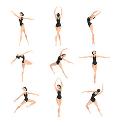 young professional ballerina dancing set vector image