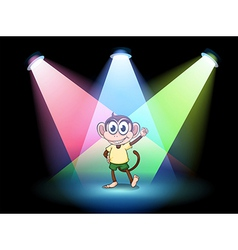 A stage with a male monkey at the center vector image vector image