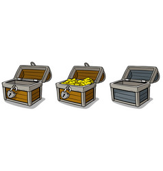 cartoon open treasure chest with gold coins set vector image