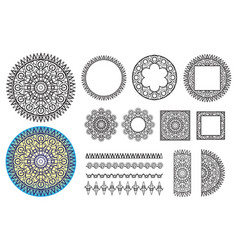 collection elements round pattern square frames vector image