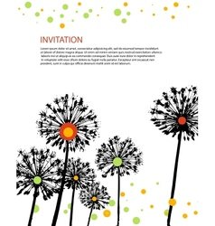 flowers invitation card vector image