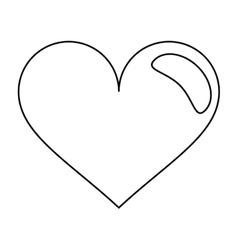 heart love romantic symbol outline vector image
