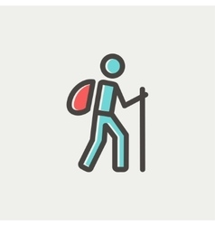 Hiking exercise thin line icon vector image