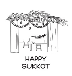 Sukkah with table food and Sukkot symbols vector image