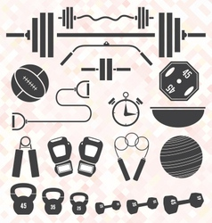 Weight Lifting and Workout Icons and S vector image vector image