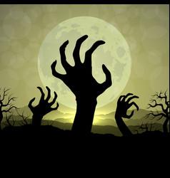 zombi hands in halloween night on the moon vector image