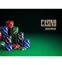 casino chips isolated on green background vector image vector image