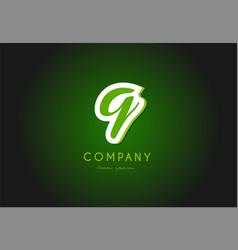 q alphabet letter logo green 3d company icon vector image vector image