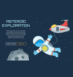 asteroid exploration background vector image vector image