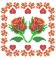 cross stitch embroidery rose floral design for vector image