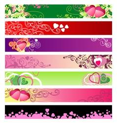love hearts website banners vector image vector image