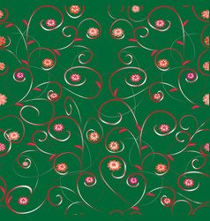 seamless flower abstract pattern with leaves and vector image