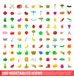 100 vegetables icons set cartoon style vector image