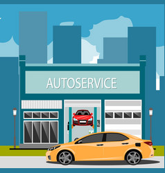 car repair maintenance auto service station with vector image vector image