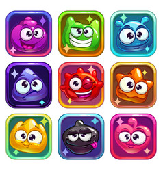 colorful app icons with funny jelly characters vector image