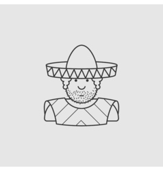 flat contour icon Mexican hat and cape vector image vector image