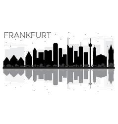 frankfurt city skyline black and white silhouette vector image vector image