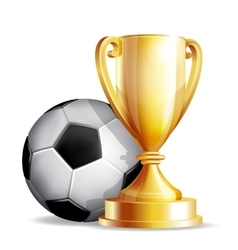 Gold cup with a football ball vector