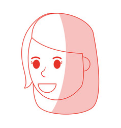 red shading silhouette cartoon side view face girl vector image vector image