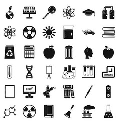 school education icons set simple style vector image vector image