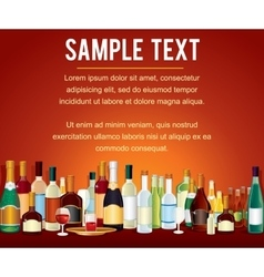 Various Alcohol Bottles in a Bar Counter vector image