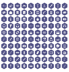 100 portable icons hexagon purple vector