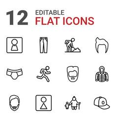 12 men icons vector