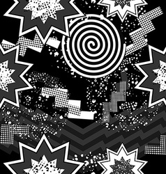80s pop art seamless pattern in black and white vector image