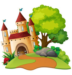 A medieval castle scene vector