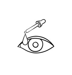 a pipette and eye hand drawn outline doodle icon vector image
